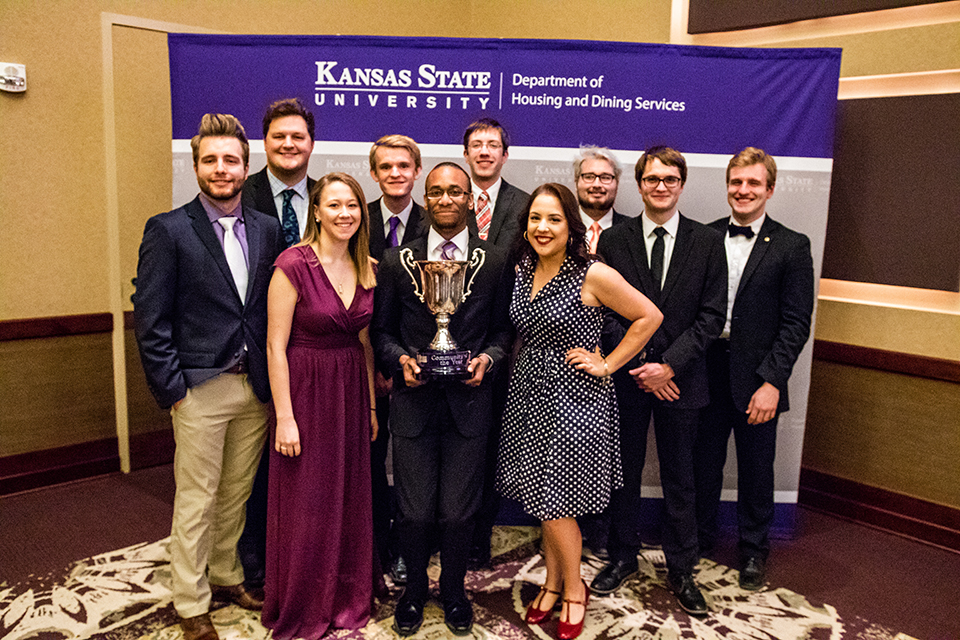 Moore Hall student leaders pose for a photo after receiving the Community of the Year award at the annual Leadership Reception on April 30. 2018.