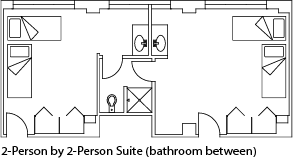 3-person suite, private bath