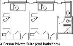 4-person suite, shared bath