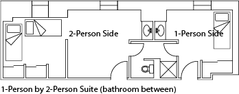 2-person suite, private bath
